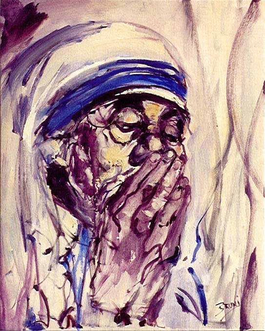 Mother Teresa,575,24x30,praying.JPG (102962 bytes)