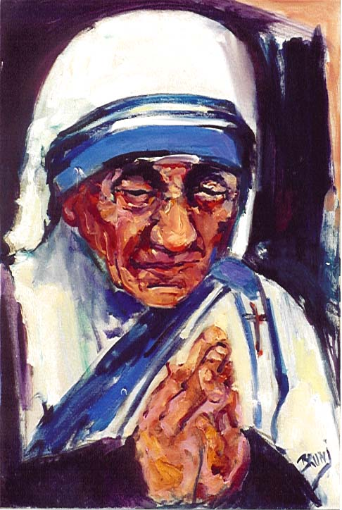 Mother Teresa,613,20x30,Praying.JPG (79336 bytes)